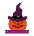 pumpkin hallooween with hat witch decorative icon vector image vector image