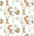 rabbits ith basket pattern vector image