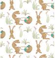 rabbits ith basket pattern vector image vector image