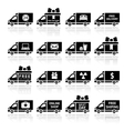 Set of Cargo trucks black icons vector image vector image