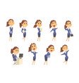 set of cute businesswoman characters in different vector image vector image