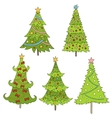 Set of doodle trees Festive vector image vector image
