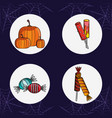 set of halloween round icons vector image vector image