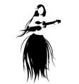 silhouette hawaiian girl wearing skirt of vector image