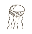 silhouette jellyfish animal marine design vector image