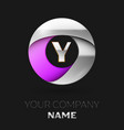 silver letter y logo in the silver-purple circle vector image