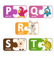 stickers alphabet animals from P to T vector image vector image