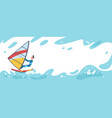 summer travel young surfer man riding on big blue vector image vector image