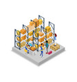 warehouse interior with workers isometric 3d icon vector image vector image