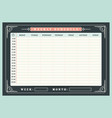 weekly schedule planner template with vintage vector image vector image