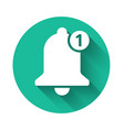 white bell icon isolated with long shadow new