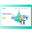 winter holidays website landing page design vector image