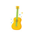 yellow-orange guitar with blue strings musical vector image vector image