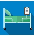 Bed in hospital flat icon vector image