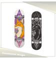 design skateboard fox vector image