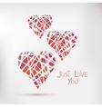 Handdrawn painted hearts card for vector image