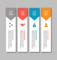 4 steps of infographic with yellow blue red and vector image vector image