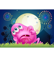 A tired fat beanie monster at the carnival vector image vector image