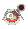 american breakfast on dish vector image
