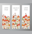 Banners with cartoon doodle houses on white