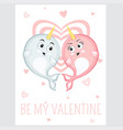 be my valentine event card in cartoon style vector image vector image