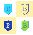 bitcoin security icon set in flat and line style vector image vector image