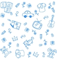 Blue funny draw doodle vector image vector image