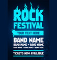 blue rock festival poster design template vector image