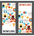 Bowling banners with game objects Image for vector image