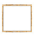 brown wooden border made of realistic brown bamboo vector image