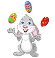 bunny juggling easter eggs vector image vector image