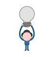 businessman character holding up light bulb color vector image vector image