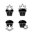 cannabis cupcake silhouette icons set outline vector image vector image