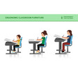children ergonomic wrong and correct sitting pose vector image vector image