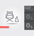 cinema director chair line icon with editable vector image