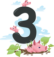Collection number for kids farm animals - number 3 vector | Price: 1 Credit (USD $1)