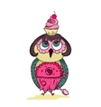 cute cartoon colored owl with cake on head vector image vector image