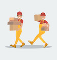 delivery service two workers carry parcels the vector image vector image
