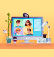 display with web camera and cartoon people vector image