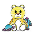 doodle teddy bear with rocket and ufo toys vector image vector image