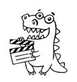 dragon with movie clapper board vector image