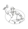 farrier wielding hammer oval doodle art vector image vector image