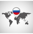 flag russia pin map design isolated vector image vector image