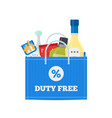 flat icons of duty free shop and goods at vector image vector image
