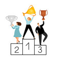 flat winners characters business people on vector image vector image