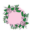 floral frame with rose wreath vector image vector image