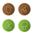 forestry flat linear long shadow icons set vector image