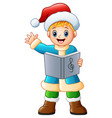 happy boy singing christmas carols waving vector image vector image