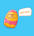 happy easter cartoon greeting card with cute vector image