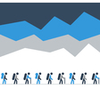 hiking and traking team in mountains walking vector image vector image